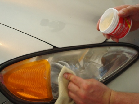 Applying Polish to Headlight