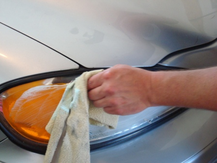 Headlight Polishing- Applying PlastX