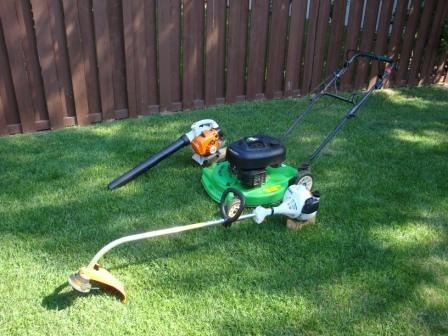 Lawn Boy Mower with Stihl Leaf Blower and Grass Trimmer