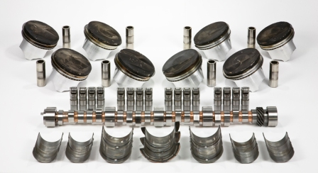 Bearings, camshaft, lifters and pistons from Mercury 525 EFI