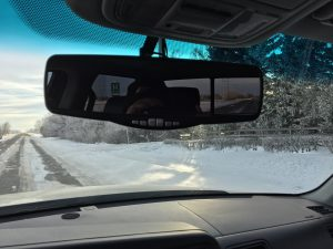 Rear-View Mirror Fastened With Permatex Ultra Grey